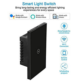 HHGAOKO Wifi Smart Light Switch Touch Panel Glass Remote Wall Switch, Compatible with Alexa, Google Assistant,Jinvoo Smart