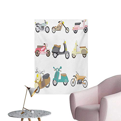 Anzhutwelve Doodle Wall Paper A Variety of Scooters in Cute and Pleasant Design Bike Riding Wheels TransportationMulticolor W32 xL48 Wall Poster