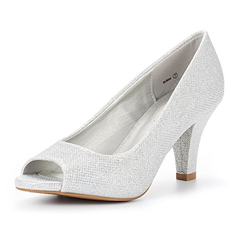 (DREAM PAIRS Women's Susan Silver GLIT Fashion Stilettos Peep Toe Pumps Heels Shoes Size 8 B(M) US)