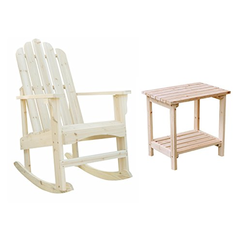 Shine Adirondack Rocker Bundle, Marina Porch Rocker With a Rectangular Side Table in Natural