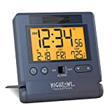 Marathon CL030036BL Atomic Travel Alarm Clock with Auto Back Light Feature, Calendar and Temperature. Folds into One Compact Unit for Travel. Batteries Included. Color-Blue.