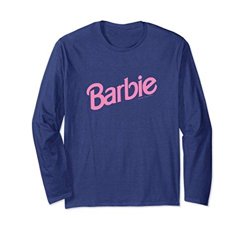 Unisex Barbie Pink Logo Long Sleeve T-Shirt Small Navy