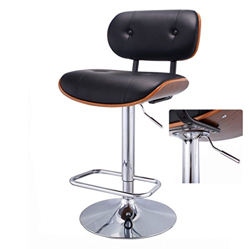 Modern Design Bentwood Bar stool Pneumatic Adjustable Height 360 Degree Swivel Durable PU Leather Upholstery Seat Stable Chrome Steel Frame Pub Chair ()
