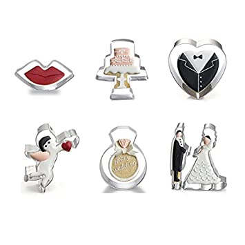 Astra Gourmet - Juego de cortadores de galletas para hornear herramientas set|include: novia, novio, anillo, labios, Cupido, corazón y moldes para pastas: ...