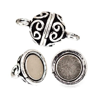(9mm Antiqued Sterling Silver Plated Copper Magnetic Clasp Round Heart Pattern Set of 2)