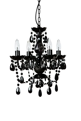 Black Four Light Chandelier (The Original Gypsy Color 4 Light Small Black Chandelier H18