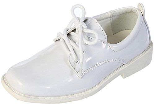 TipTop Patent Dress Oxford Shoes White 1 M US Little Kid Boys White Dress Shoes