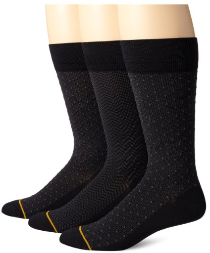 - Gold Toe Men's 3-Pack Cotton Dress Diamond Dot Over-The-Calf Crew Sock, Black, Sock Size: 10-13/Shoe Size:9-11