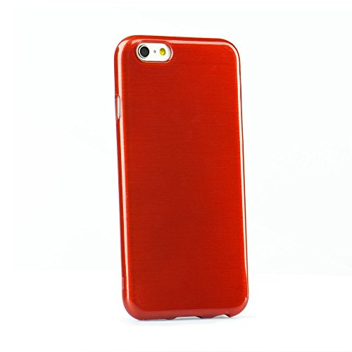 handy-point Aluminium gebürstet Optik metallic Gummihülle Silikonhülle Gummi Silikon Schale Schutzschale Schutzhülle Hülle für iPhone 6 Plus 6S Plus (5,5 Zoll) Rot