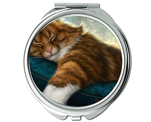 Mirror,Compact Mirror,Sleeping cat mouse mirror for Men/Women,1 X 2X Magnifying