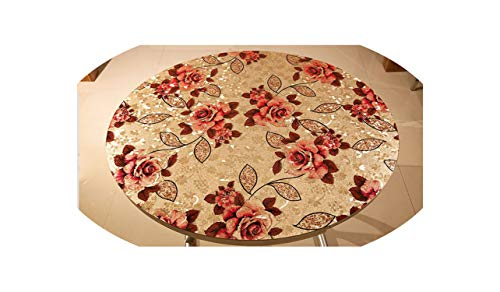 Round Colorful Printed Embossed Soft Glass Frosted Tablecloth Waterproof Plastic Table mat Party Table Decoration Table pad,C,80cm