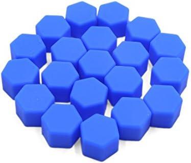 uxcell ナットキャップ ナットカバー ホイールハブネジキャップ 19mm ブルー シリコーン 自動車用 20個入り