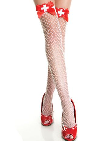 [MUSIC LEGS Women's Cross and Satin Bow Nurse Diamond Net Thigh High Tights, White/Red, One Size] (Womens Nurse Halloween Costumes)