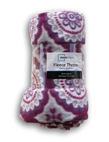 Purple Medallion Patterned Fleece Throw Blanket - 50in X 60i