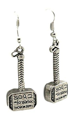 Marvel Thor Hammer Text Logo Dangle Earrings Gift Box Included -