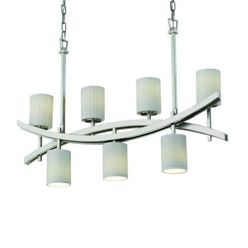 Justice Design Group Limoges Archway 7-Light Brushed Nickel Chandelier, Brushed Nickel Cylinder - Flat Rim ()