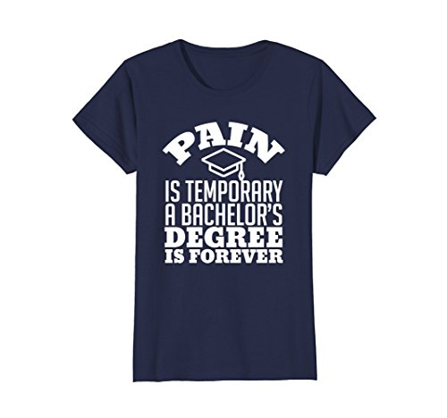 Womens College Graduation Gift T Shirt Funny Bachelor Degree Gift Large Navy