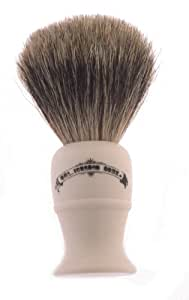 Colonel Conk Progress Model 850 Deluxe Pure Badger Shaving Brush, Lathe Turned Cream Handle