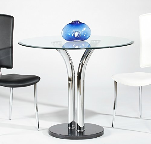 Milan TINA-DT Tina Clear Round Glass with Beveled Edge Bistro Dining Table (Beveled Dining Table Set Glass)