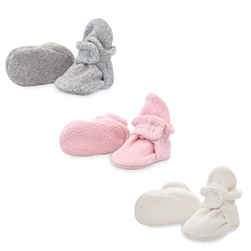 Zutano 3 Pack Fleece Baby Bootie Gift Set, Heather Gray/Baby Pink/Cream, 3M