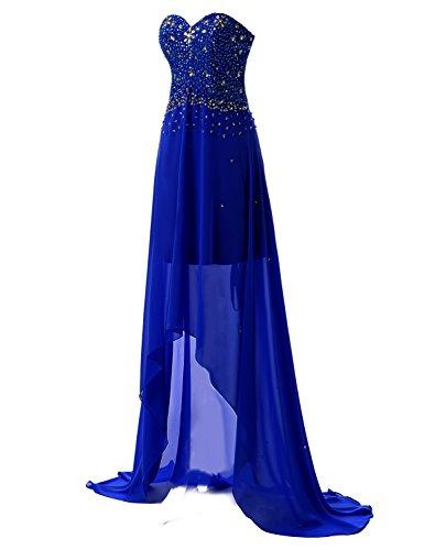 Sarahbridal Damen High-Low Perlen Strasssteine Chiffon Schatz Hals  Abendkleider SSD080 Königsblau 8rHEj fd62ec0963