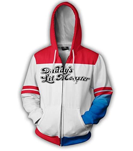 HPY Cosplay Hoodie Costume The Joker Sweatshirt Harley Quinn Jacket Christmas Halloween, White, 2XL