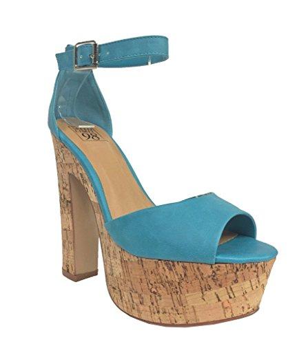 Speed Limit 98 Women's Okaley Peep Toe Chunky Heel Ankle Strap Cork Platform Sandal, turquoise leatherette, 10 M US