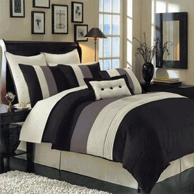 12 PIECES BEDDING SET LUXURY HUDSON COMFORTER SET KING SIZE BLACK, BROWN & IVORY. INCLUDES: 1- COMFORTER, 1- BED SKIRT WITH 15'' DROP 2- STANDARD PILLOW SHAMS 2- EURO PILLOW SHAMS. 1- DECORATIVE PILLOW 12'' x 18'' 1- DECORATIVE PILLOW 18'' x 18'' 1- FLAT SHEET