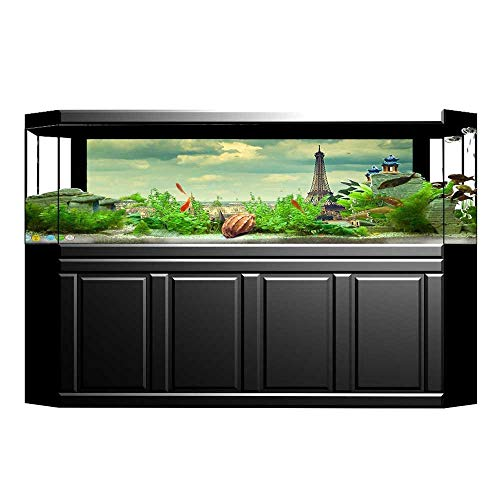 UHOO2018 Fish Tank Background Paris France Decor Collection Europe Famous Church and Cityscape Aerial View Print Accesso PVC Adhesive Decor Paper Sticker ()