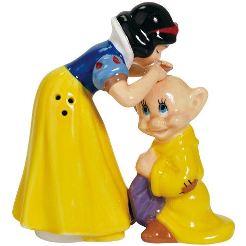 Westland Giftware Snow White Kissing Dopey Magnetic Ceramic Salt and Pepper Shaker Set, 4.25-Inch