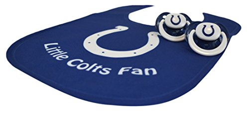 Official NFL Fan Shop Authentic Baby Pacifier and Bib Bundle Set. Start Out Early in Joining The Fan Club and Show Support for Your Favorite Football Team (Indianapolis Colts) -