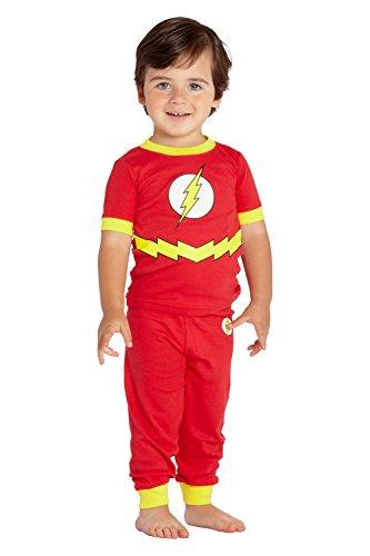 DC Comics Infant 'Flash Logo' Cotton Costume Pajama Set, Grey, 24 Months
