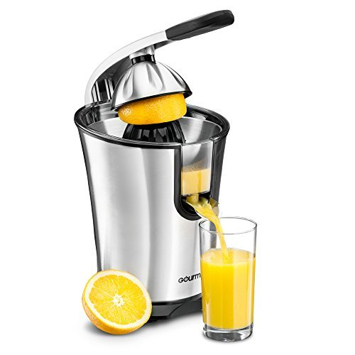 (Gourmia EPJ100 Electric Citrus Juicer Stainless Steel 10 QT 160 Watts Rubber Handle And Cone Lid For Easy Use One-Size-Fits-All Juice Cone For Easy Storage. -)