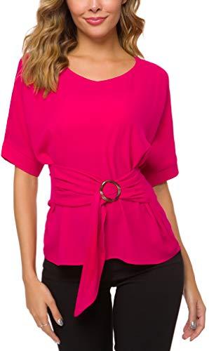 ACONIYAWomens Tie Knot Casual Belted Blouse Elegant Long/Short Sleeve Shirt Work Tunic Tops (Rose, S)