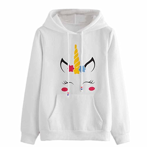 BeautyVan Pullover Tops, New Design Womens Unicorn Print Long Sleeve Hoodie Pullover Tops (M, White) (Holloween Party Food)