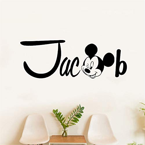 Oisiu Mickey Mouse Wall Sticker Decal Wall Decal Personalized Name Vinyl Wall Stickers Mickey Mouse Poster Boys Bedroom Girls Room Home