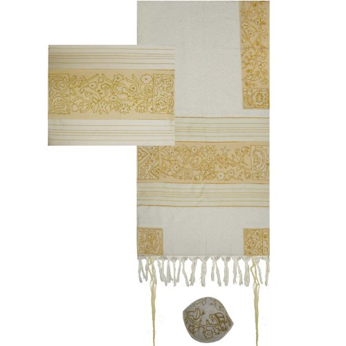 Yair Emanuel Hand Embroidered 'The Matriarchs in Gold' Tallit Prayer Shawl Set - Size: 21'' x 77''
