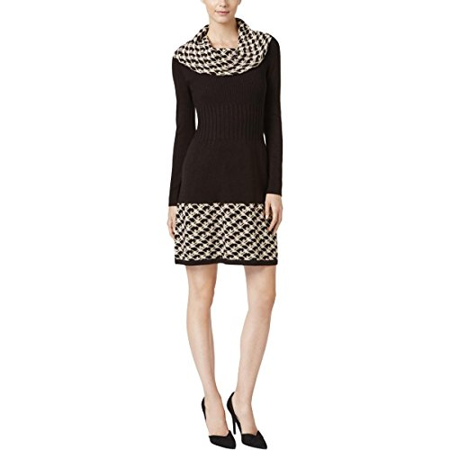 Jessica Howard Womens Cowl-Neck Sheath Sweaterdress Black L