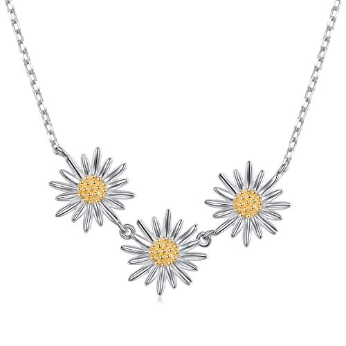 (S925 Sterling Silver Daisy Flower Pendant Necklace (Daisy Nec))