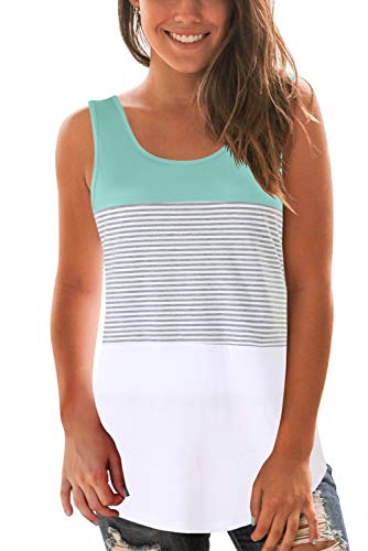 Women Loose fit Tank Top Striped Round Neck Sleeveless T Shirt Lake Green XL