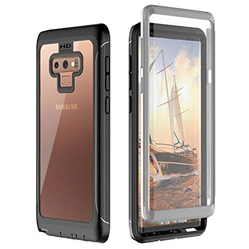 Samsung Galaxy Note 9 Case,yDreamj Full-Body Rugged Clear Bumper Case with Kickstand Built-in Screen Protector Wireless Charging Support for Samsung Galaxy Note 9
