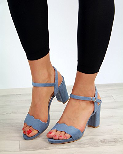 Larena Fashion New Womens High Block Heel Sandals Peep Toe Ankle Strap Party Shoes Blue ftySKqS2