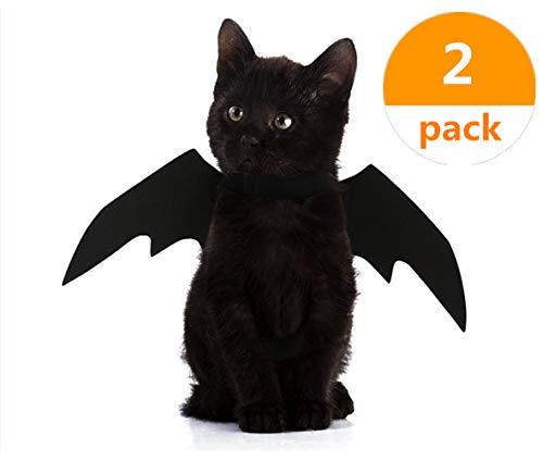HYOUNINGF 2 Pack Halloween Pet Bat Wings Cat Dog Bat Costume (Black) ()