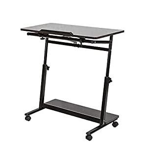 Huisen furniture mesa de escritorio ajustable para for Mesa de ordenador con ruedas