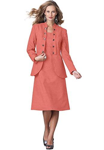 Roamans Women's Plus Size Military Jacket Dress (Dusty Coral,30 W)
