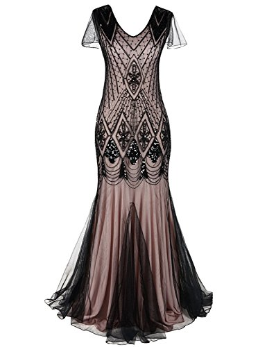MAYEVER Women 1920s Long Prom Gown Beaded Sequin Mermaid Hem Ball Evening Dress with Sleeve (S, Black -