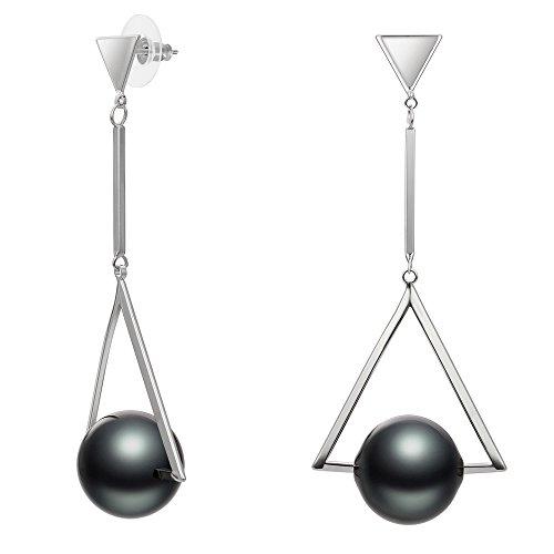- Kemstone Stainless Steel Silver Tone Triangle Pearl Dangle Earrings for Women