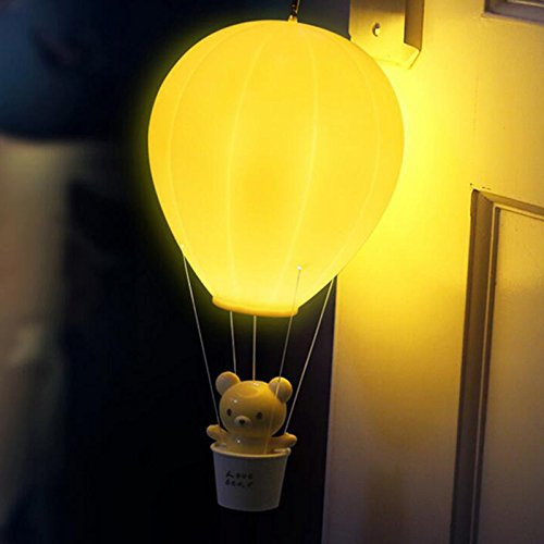 Zehui Children Baby Nursery Lamp With Touch Switch USB Rechargeable Wall Lamp For Kids Bedroom Dimmable Hot Air Balloon LED Night Light Yellow by Zehui