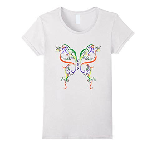 Womens Order Of Eastern Star Butterfly T Shirt Large White