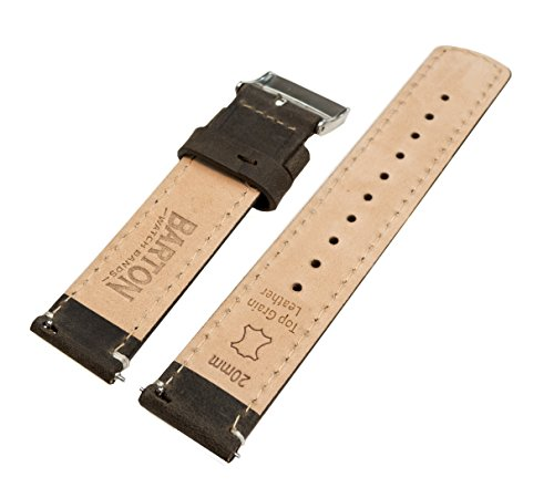 Barton Quick Release Top Grain Leather Watch Band Strap - Choose Color - 16mm, 18mm, 20mm, 22mm or 24mm - Espresso/Linen 24mm by Barton Watch Bands (Image #3)
